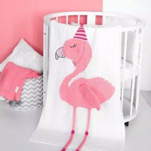 Плед Фламинго белый