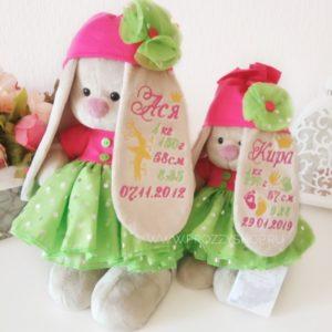Зайка Ми в зелено-розовом платье с ИМЕННОЙ ВЫШИВКОЙ