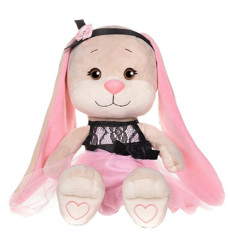 Зайка Jack&Lin в розовом платье с черными вставками