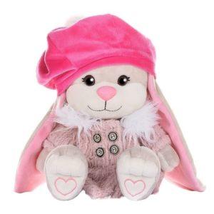 Зайка Jack&Lin в розовом пальто с ИМЕННОЙ ВЫШИВКОЙ